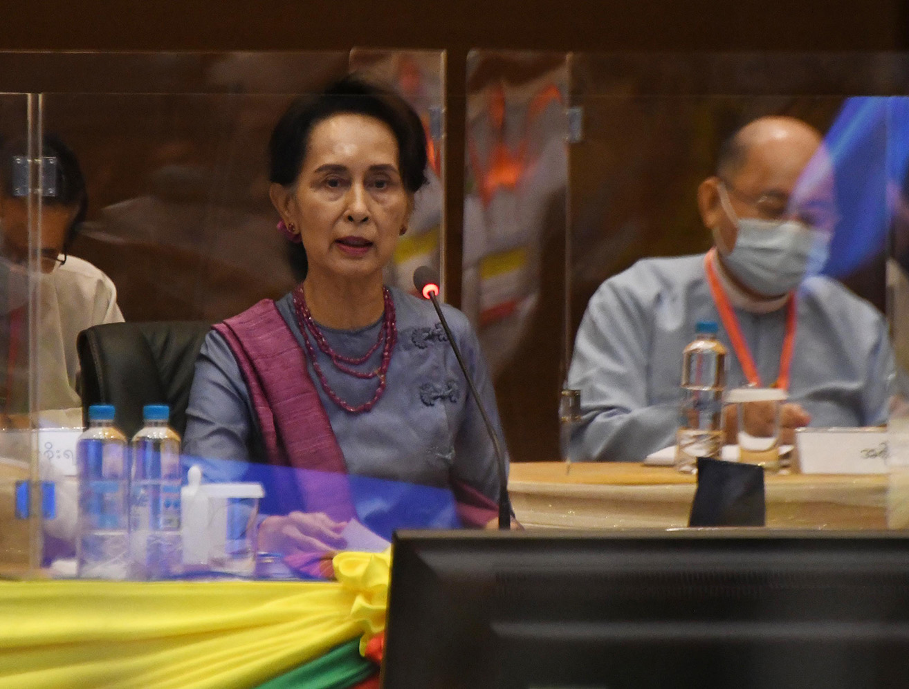State Counsellor Daw Aung San Suu Kyi makes the opening remark at the 20th meeting of UPDJC in Nay Pyi Taw on 20 August.PHOTO: MNA