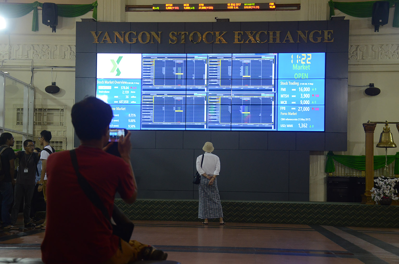 Shares of six listed companies are being traded  on Yangon Stock Exchange.  PHOTO: Phoe Khwar