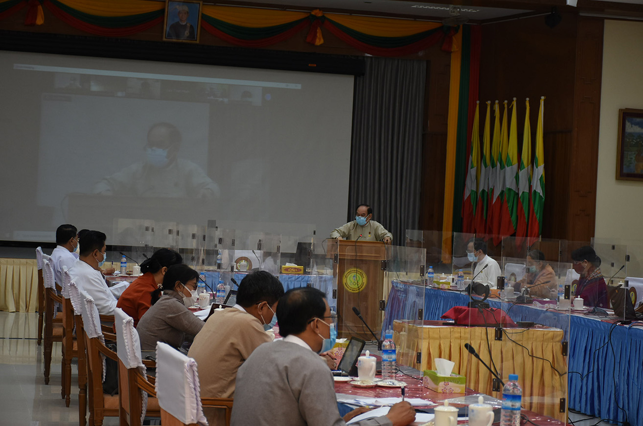Union Minister Dr Myint Htwe delivers the speech on the Table-Top Exercise at his office in Nay Pyi Taw on 13 August.PHOTO: MNA