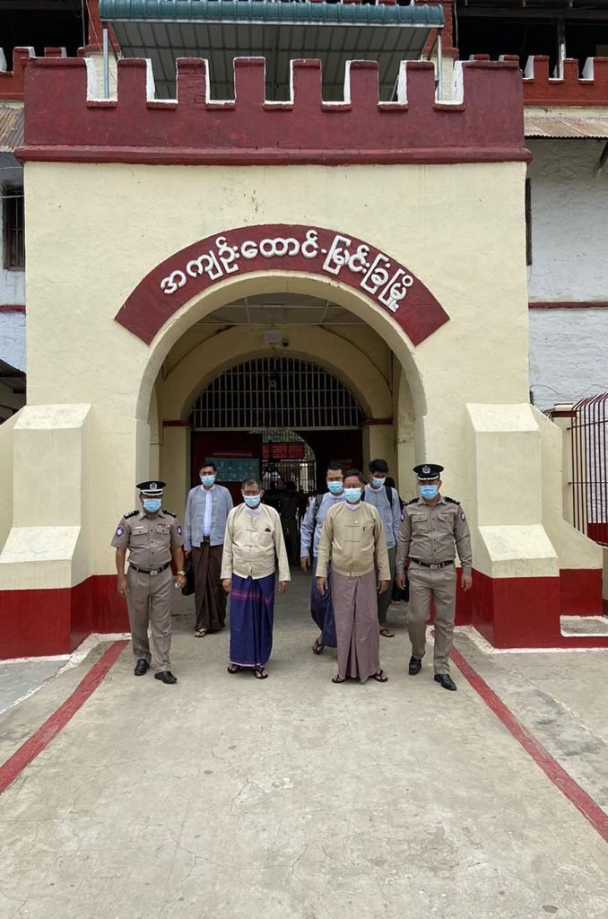MHRC officials inspect Myingyan Prison on 14 August. Photo: MNA