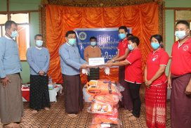 Union Minister Dr Win Myat Aye presents social pension to senior citizens in Sagaing