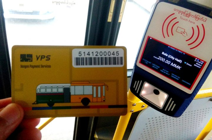 A customer uses a YPS card to pay for YBS ride in Yangon in August 2020. Photo: Phoe Khwar