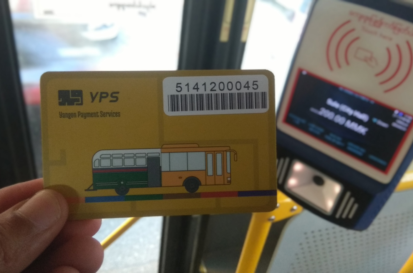 YRTA has sold 32,000 payment cards for buses in Yangon as of 10 August.PHOTO: Aye Maung
