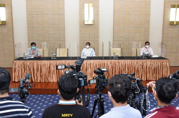 UPDJC Secretary U Zaw Htay speaking at the press conference.Photo: MNA