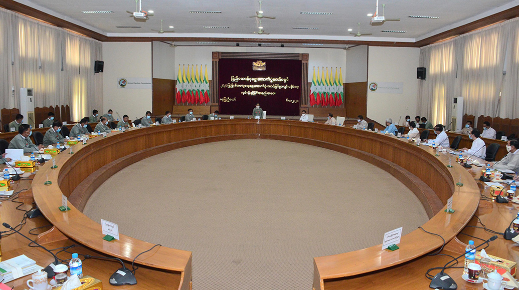 Union Election Commission holds meeting with ministries for successfully holding of  the 2020 General Election. PHOTO: MNA