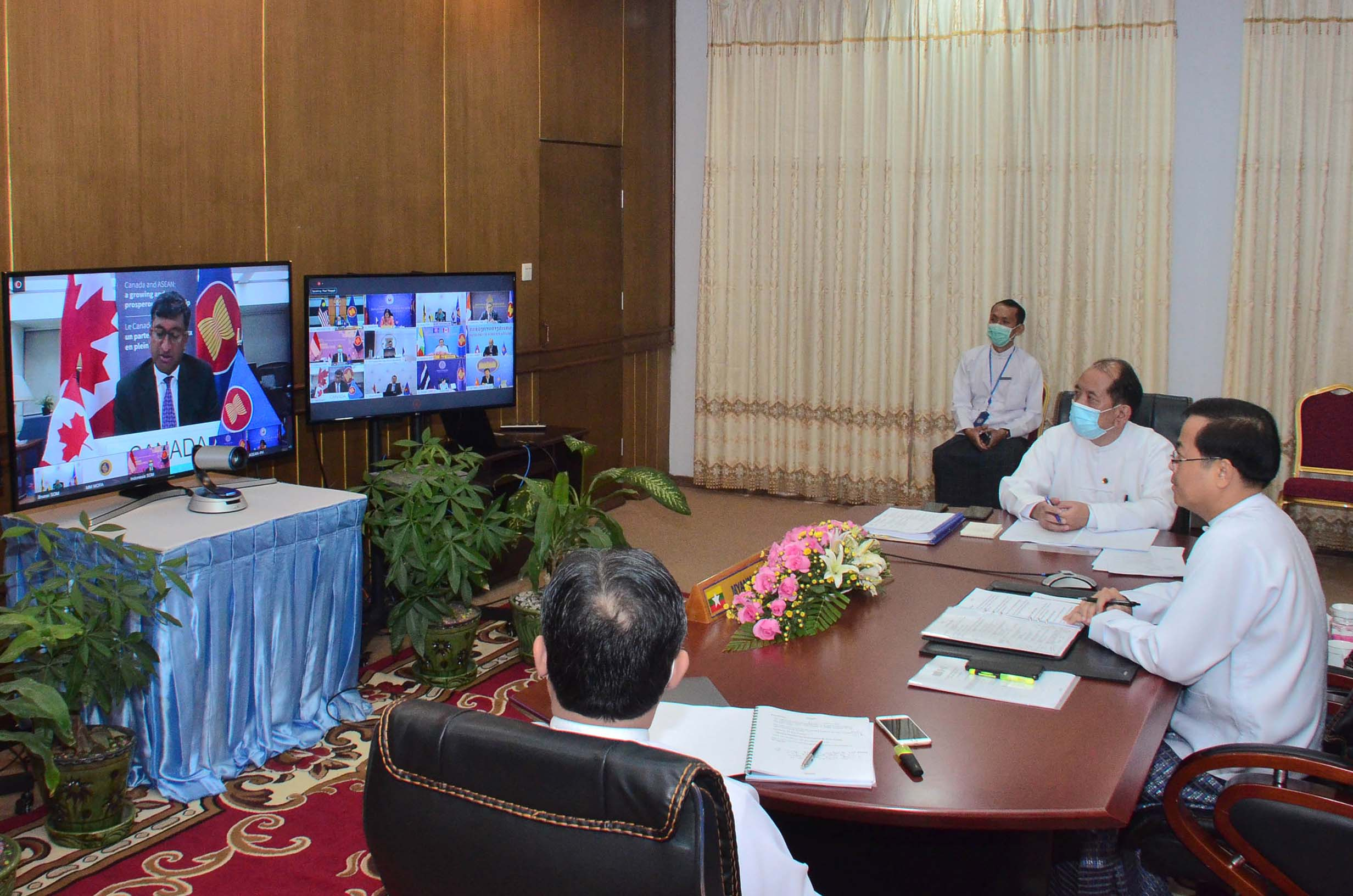 Permanent Secretary U Soe Han participates in 17th ASEAN-Canada Dialogue via videoconference from Nay Pyi Taw on 11 August.Photo: MNA