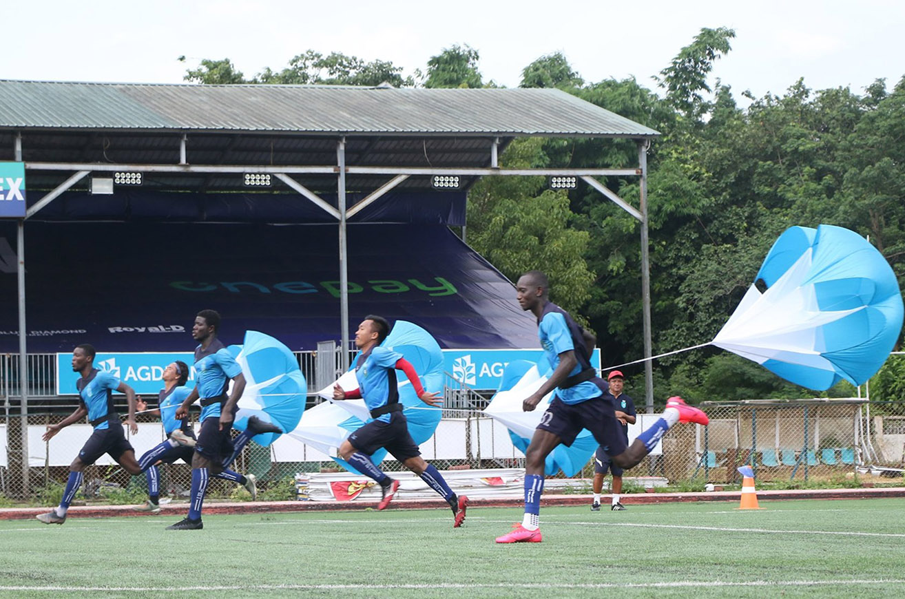 Yangon United players seen in their regular training session on 7 August as Myanmar National League will restart in the near future. Photo: YUFC