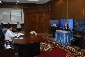 Union Minister U Kyaw Tin holds videoconference on advance voting of nationals abroad at Myanmar missions in foreign countries