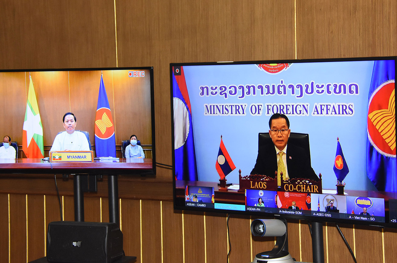Permanent Secretary of Ministry of Foreign Affairs U Soe Han joins the 33rd ASEAN-US Dialogue via videoconference on 5 August. PHOTO: MNA