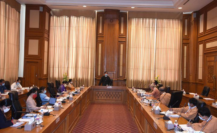 Pyidaungsu Hluttaw Speaker U T Khun Myat presides over meeting to prepare for 41st AIPA General Assembly on 19 August.PHOTO: MNA