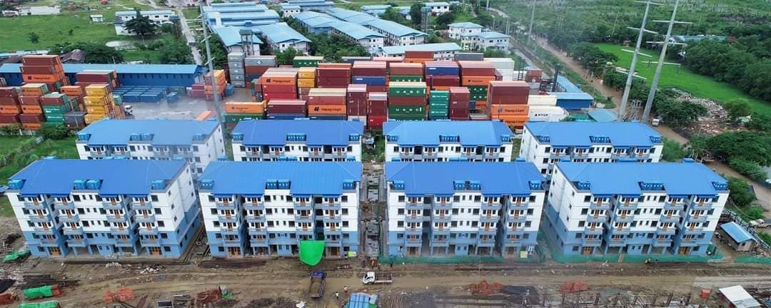The Rental Housing Project for civil personnel in Dagon Seikkan Township is targeted to be completed in the end of this year.  Photo: Nyein Nyein