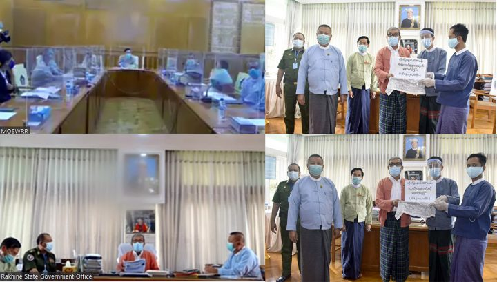Ministry of Social Welfare, Relief and Resettlement holds virtual meeting and provides cash assistance for IDPs in Rakhine State on 21 August. Photo:MNA
