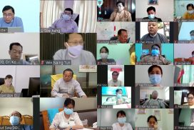 Union Minister Dr Win Myat Aye holds virtual meeting with states/regions government officials to help volunteers for COVID-19 response