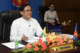 Union Minister U Kyaw Tin participates in ASEAN Post Ministerial Conference (PMC) 10+1 Sessions with ASEAN's Dialogue Partners and co-chairs ASEAN-Canada Ministerial Meeting held via videoconference