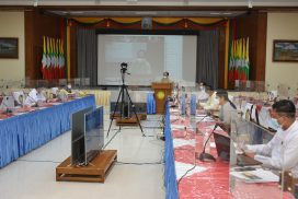 Union Minister Dr Myint Htwe presides over weekly meeting on COVID-19 treatment, public healthcare services in Yangon