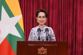State Counsellor makes speech at UEHRD 3rd anniversary celebration