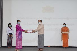 Union Minister Dr Myint Htwe receives cash donation for COVID-19 prevention, control and treatment activities