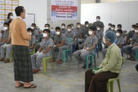 Yangon Chief Minister encourages volunteers at COVID-19 treatment centres