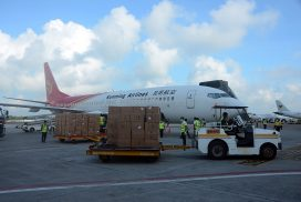 COVID-19 medical supplies imported from China arrive in Yangon