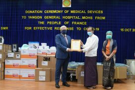 France donates COVID-19 medical assistance package to the Yangon General Hospital worth 58,000 USD