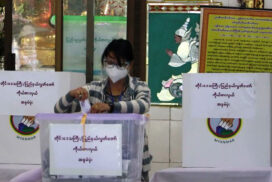 People in Mandalay cast votes on Election Day