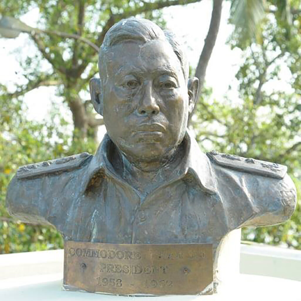 A bronze bust of Commodore Pe Than 0