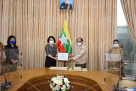 Union Minister Dr Myint Htwe receives COVID-19 donation from UNHCR