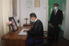 Condolence book signed for death of former Pakistani Prime Minister