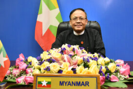 Union Minister U Kyaw Tin delivers statement at  13th Bali Democracy Forum via Video Link