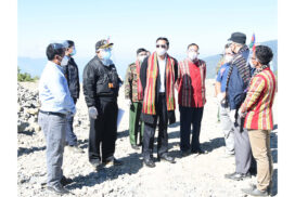 VP U Henry Van Thio inspects construction of Lailenpi airstrip in Matupi Township