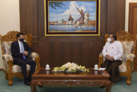 Union Minister U Kyaw Tin receives US Ambassador