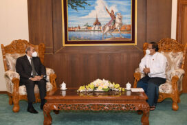 Union Minister U Kyaw Tin receives Egyptian Ambassador