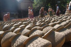 Potters from Ayeyawady River bank begin making traditional earthen pots