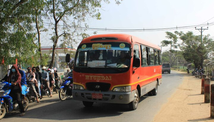 Htet Aung Kyaw bus line and Paing Ayar bus line are recently running along the Dala-Pyapon route from the Dala bus terminal for the passengers' convenience. Photo: Naing Lin Kyaw (dala)