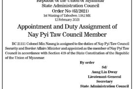 Appointment of Chairman and Member for Chin State Administration Council