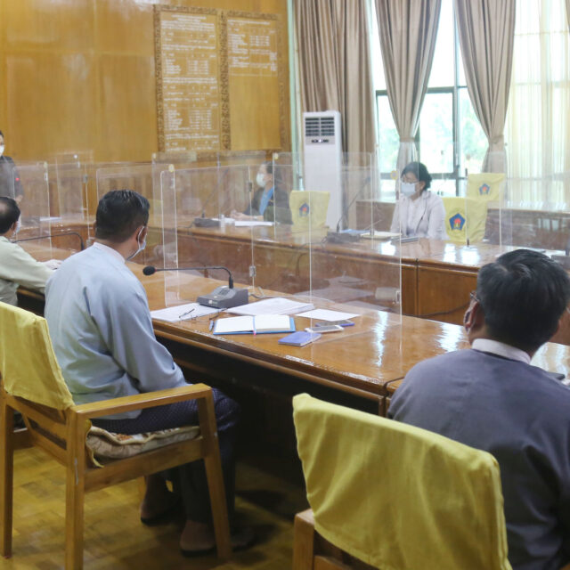 Union Minister Dr Thet Thet Khine chairs the coordination meeting on the resettlement of IDPs and closure of IDP camps yesterday. Photo: MNA