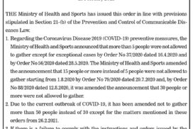 Ministry of Health and Sports Order No 22/2021