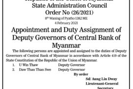 Appointment and Duty Assignment of Deputy Governors of Central Bank of Myanmar