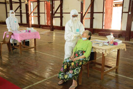 Tatmadaw medical corps provide COVID-19 test for domestic air travellers