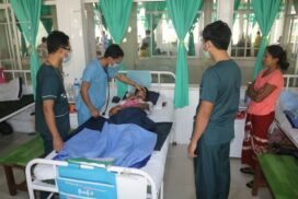 People receive medical treatments at military hospitals