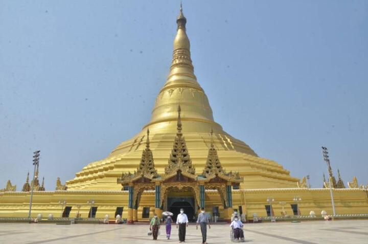 Devotees are seen worshipping the Uppatasanti Pagoda in Nay Pyi Taw.