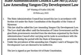 State Administration Council Law No (1/2021) Law Amending Yangon City Development Law
