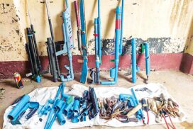 Villagers hand over handmade guns to security forces in Taninthayi, Ayeyawady, Mandalay regions