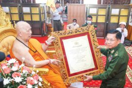 Ceremony held to confer title of Abhidhaja Maha Rattha Guru on Presiding Nayaka of Naga Hnit Kaung Monastery in Tachilek Dr Bhaddanta Dhamma Siri