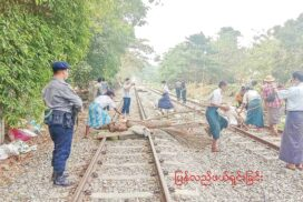 Myanma Railways run regular commuter trains in Yangon