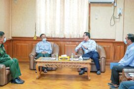 Union Minister U Maung Maung Ohn meets hoteliers and officials in Ayeyawady Region