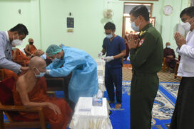 Venerable monks receive COVID-19 second dose