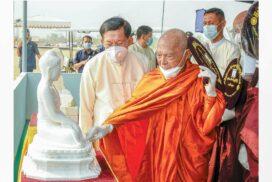 State Sangha Maha Nayaka Committee Sayadaws hear report about construction of world's biggest Bumi Phatha Mudra sitting marble Buddha Image, give advice