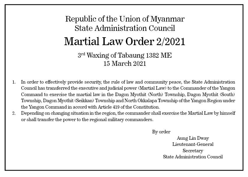 Martial Law Order 2 2021