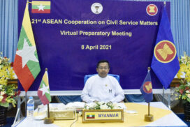Myanmar Delegation led by U Aung Tin Soe, Director-General of Civil Service Selection and Training Department of Union Civil Service Board attends Preparatory Meeting and Senior Officials Meeting of 21st ASEAN Cooperation on Civil Service Matters through Video Conferencing